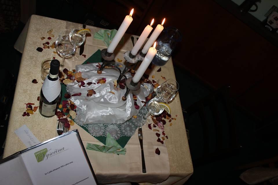 Romantická veřeře v Penzionu Vysočina
